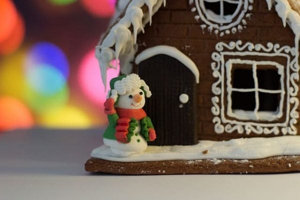 New Years Gingerbread House with Snowman