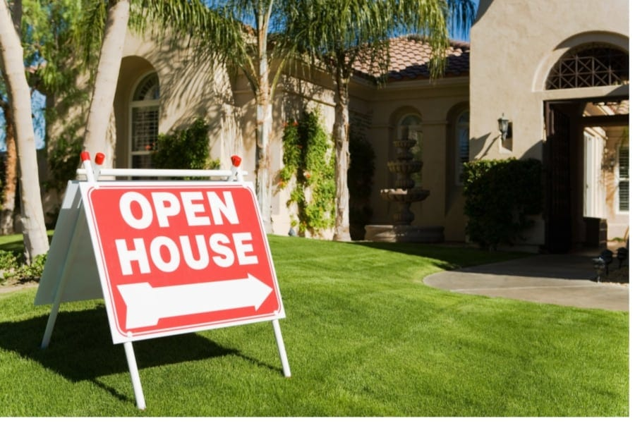 Open House Sign in front of homes for sale in San Marcos