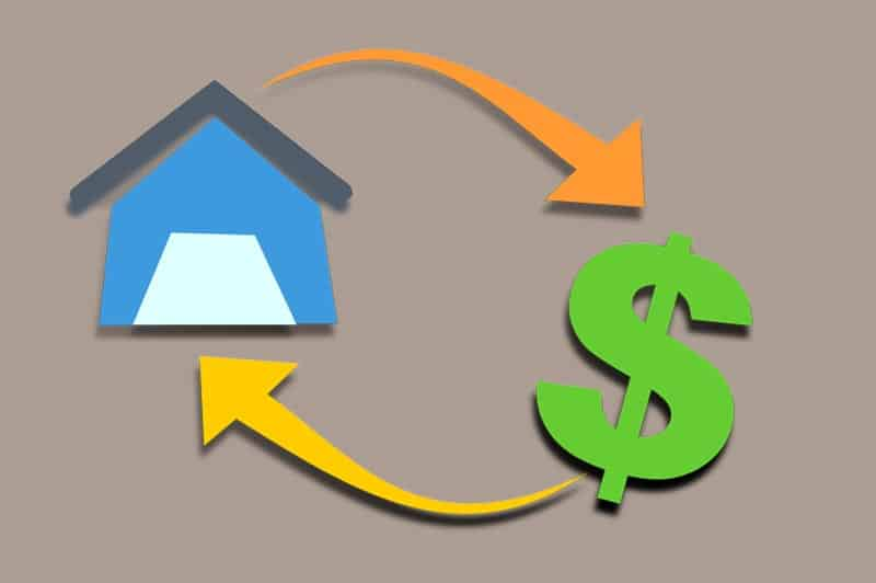 A mortgage illustration depicts a house converting to a dollar sign and back again.