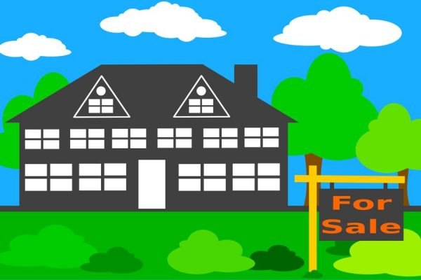 Graphic design of home with for sale sign in front