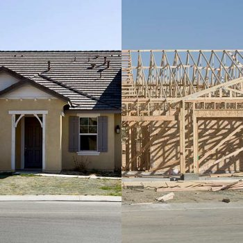 A pre-built home next to a custom home under construction