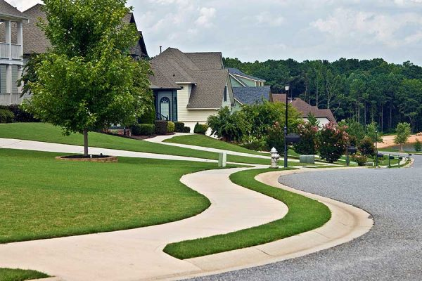 Curvy Sidewalk in neighborhood